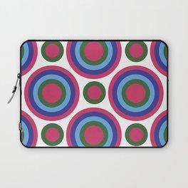 Circle Circle:  Fuchsia, Kelly Green, Turquoise + Blue Laptop Sleeve