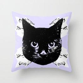 Purple Scrunch Quad Cat Throw Pillow