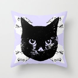 Purple Scrunch Quad Cat Throw Pillow