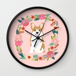 corgi red coat floral wreath flowers dog breed gifts corgis Wall Clock