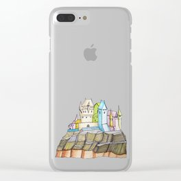 fairytale castle on a cliff Clear iPhone Case