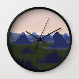 Sunrise at the mountains Wall Clock