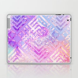 Holographic Glam - Geometric Pattern on Holo Effect Background Laptop & iPad Skin