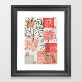 Branches grey graphic retro Framed Art Print