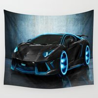sports Wall Tapestries featuring sports cars  , sports cars  games, sports cars  blanket, sports cars  duvet cover,  by ira gora