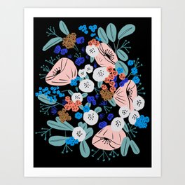 Gouache floral bouquet Art Print