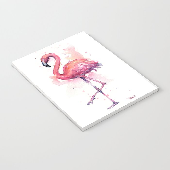 Pink Flamingo Watercolor Tropical Bird Notebook