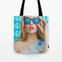 iggy azalea Tote Bags featuring Iggy Azalea Blue by Illuminany