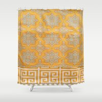 "orange pattern Shower Curtains featuring OrangE paTTern by ""CVogiatzi."