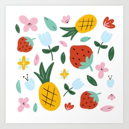 Strawberry and Pineapple hand-painted Art Print