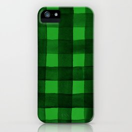 Buffalo Plaid Watercolor in Green iPhone Case