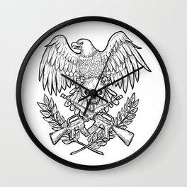 Eagle Skull Assault Rifle Drawing Wall Clock