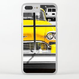 vintage yellow taxi car with black and white background Clear iPhone Case