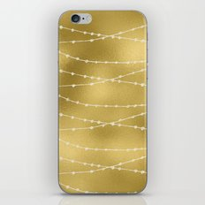 Merry christmas- white winter lights on gold pattern iPhone & iPod Skin