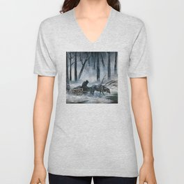 Grim Reaper with Horse in the Woods Unisex V-Neck