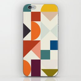 mid century retro shapes geometric iPhone Skin