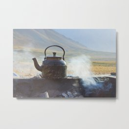 Early Morning Kettle bioling in the mountains Metal Print