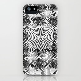 Ultimate heart maze in black iPhone Case
