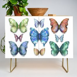 Butterfly Taxidermy // Beautiful Mandala Detailed Wings Design // Lime Green, Bright Blue, Gold Credenza