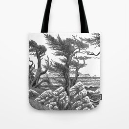 MONTEREY CYPRESS AND POINT LOBOS PEN DRAWING IN CROSSHATCH Tote Bag