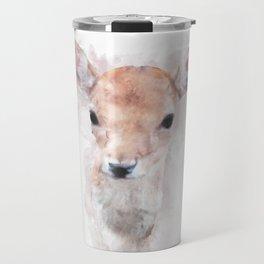 Watercolour deer fawn baby animal nursery kids room pastel pink Travel Mug