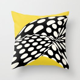 Wavy Dots on Yellow Throw Pillow