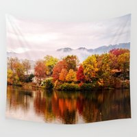 north carolina Wall Tapestries featuring Lake Junaluska, North Carolina by Mary Timman