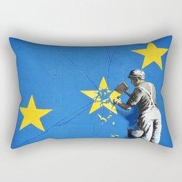 Banksy, Brexit, Euro, Breaking EU Stars, [edited, close up] Rectangular Pillow