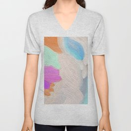 Abstract modern teal pink acrylic paint brushstrokes Unisex V-Neck