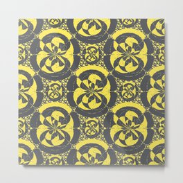 Dark grey and yellow Metal Print