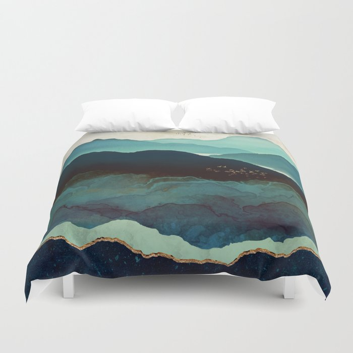 Duvet Covers.Indigo Mountains Duvet Cover By Spacefrogdesigns