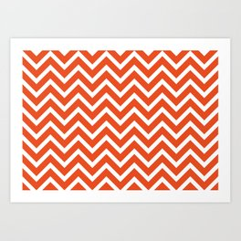 red, white zig zag pattern design Art Print