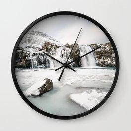 Waterfall in Iceland Winterland Wall Clock