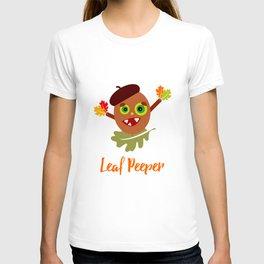 Whimsical Leaf Peeper Acorn Cartoon T-shirt