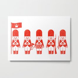 English Army, drawing with letterpress effect, inspired in toy soldiers. Metal Print