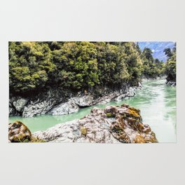 george river with ice green water abonded place Rug