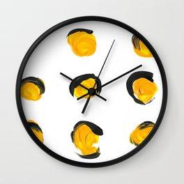 Bright Yellow Polka Dots Wall Clock
