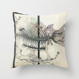 rose-Fish-bone dinosaur Throw Pillow