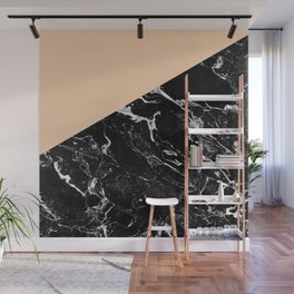 Modern elegant peach black marble color block Wall Mural