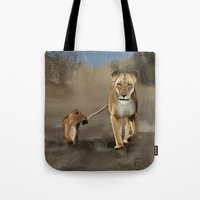 lions Tote Bags featuring Lions by Elena Napoli