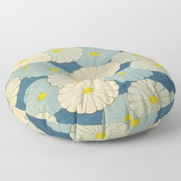 Shin-Bijutsukai – Japanese Design Blue Floral Pattern Floor Pillow