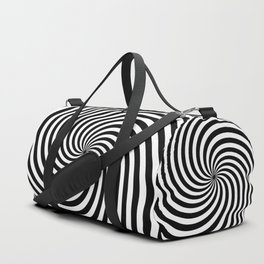 Black And White Op Art Spiral Duffle Bag