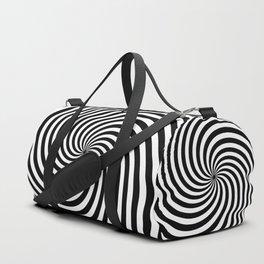Black And White Op Art Spiral Duffle Bag