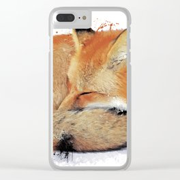 Sleeping Red Fox Clear iPhone Case