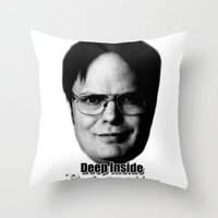 dwight schrute Throw Pillows featuring Dwight - Perfectenschlag by Thomas Rolfe