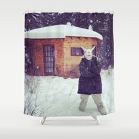 montana Shower Curtains featuring Montana by Art Department Bunny