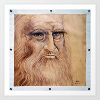 da vinci Art Prints featuring Leonardo Da Vinci by Michael Cu Fua