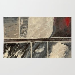 Textured Marble Popular Painterly Abstract Pattern - Black White Gray Red Rug