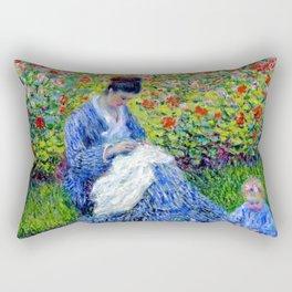 Camille Monet and a Child in the Artist's Garden in Argenteuil - Claude Monet 1875 Rectangular Pillow