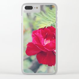 Red Semi-Plena Rose Clear iPhone Case